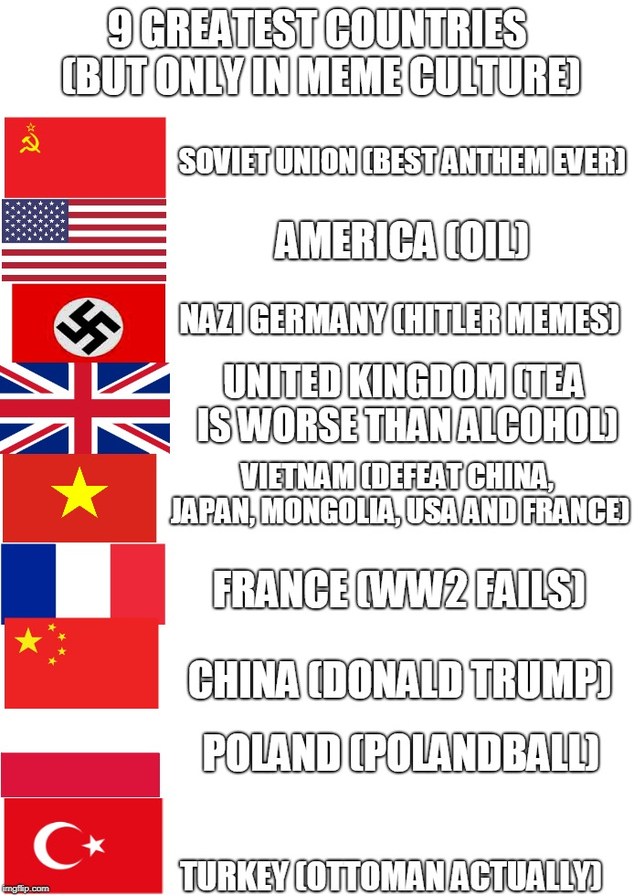9 Greatest Countries (But Only In Meme Culture) | 9 GREATEST COUNTRIES (BUT ONLY IN MEME CULTURE) TURKEY (OTTOMAN ACTUALLY) SOVIET UNION (BEST ANTHEM EVER) AMERICA (OIL) POLAND (POLANDBALL)  | image tagged in memes | made w/ Imgflip meme maker