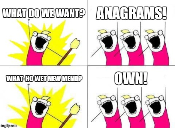 Anagrams |  WHAT DO WE WANT? ANAGRAMS! WHAT-HO WET NEW MEND? OWN! | image tagged in memes,what do we want,anagram,funny,funny memes | made w/ Imgflip meme maker