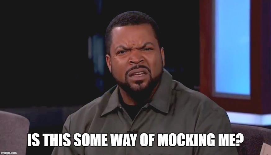 Really? Ice Cube | IS THIS SOME WAY OF MOCKING ME? | image tagged in really ice cube | made w/ Imgflip meme maker