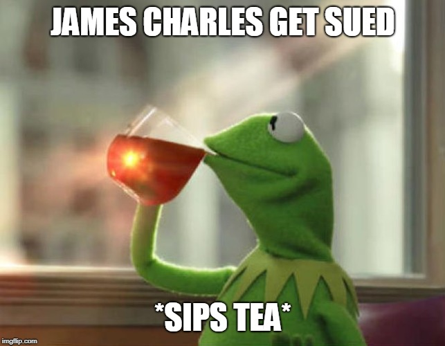 But That's None Of My Business (Neutral) Meme |  JAMES CHARLES GET SUED; *SIPS TEA* | image tagged in memes,but thats none of my business neutral | made w/ Imgflip meme maker