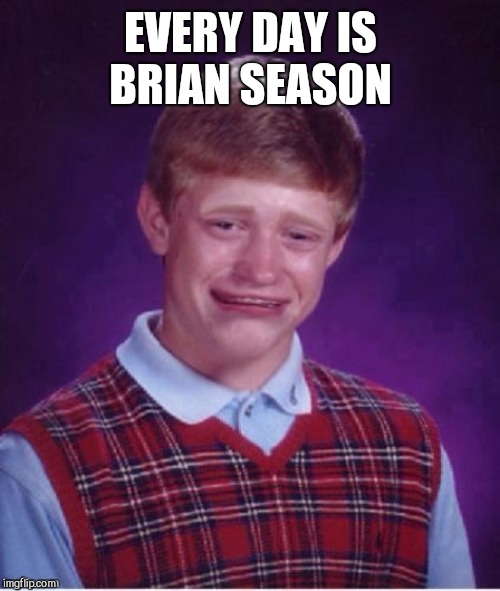 Sad brian | EVERY DAY IS BRIAN SEASON | image tagged in sad brian | made w/ Imgflip meme maker