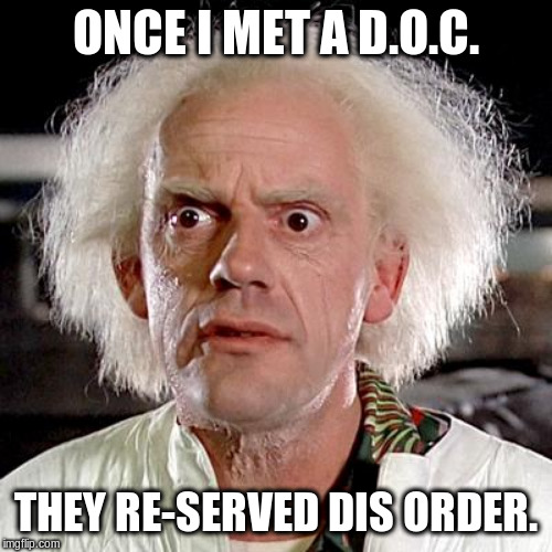 back to the future | ONCE I MET A D.O.C. THEY RE-SERVED DIS ORDER. | image tagged in back to the future | made w/ Imgflip meme maker