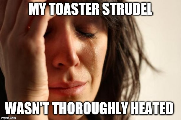 First World Problems Meme | MY TOASTER STRUDEL WASN'T THOROUGHLY HEATED | image tagged in memes,first world problems | made w/ Imgflip meme maker