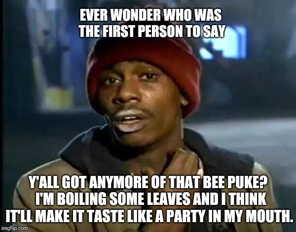 One Lump Or Two? | Y'ALL GOT ANYMORE OF THAT BEE PUKE?  I'M BOILING SOME LEAVES AND I THINK IT'LL MAKE IT TASTE LIKE A PARTY IN MY MOUTH. EVER WONDER WHO WAS T | image tagged in memes,y'all got any more of that,tea time,tea party,weird stuff,sometimes i wonder | made w/ Imgflip meme maker