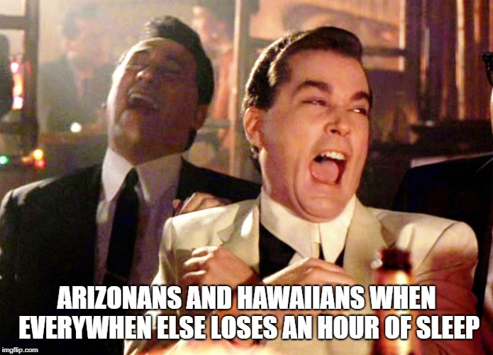 Good Fellas Hilarious | ARIZONANS AND HAWAIIANS WHEN EVERYWHEN ELSE LOSES AN HOUR OF SLEEP | image tagged in memes,good fellas hilarious,memes | made w/ Imgflip meme maker