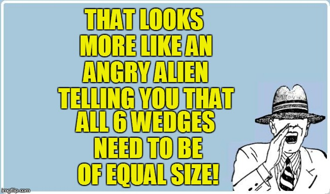 THAT LOOKS MORE LIKE AN ANGRY ALIEN TELLING YOU THAT ALL 6 WEDGES NEED TO BE OF EQUAL SIZE! | made w/ Imgflip meme maker