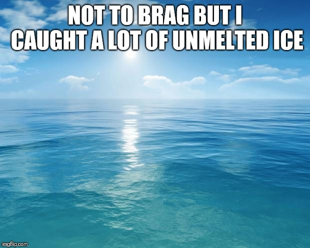 ocean | NOT TO BRAG BUT I CAUGHT A LOT OF UNMELTED ICE | image tagged in ocean | made w/ Imgflip meme maker