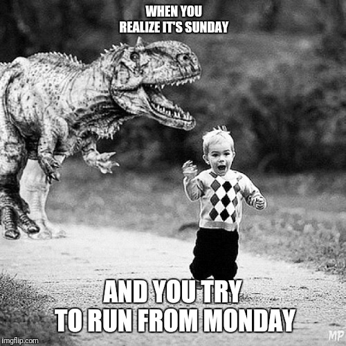 Running from Monday | WHEN YOU REALIZE IT'S SUNDAY AND YOU TRY TO RUN FROM MONDAY | image tagged in running from monday | made w/ Imgflip meme maker