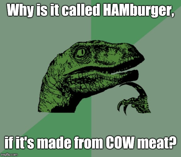 dino think dinossauro pensador | Why is it called HAMburger, if it's made from COW meat? | image tagged in dino think dinossauro pensador | made w/ Imgflip meme maker