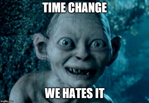 The Struggle Is Real | TIME CHANGE WE HATES IT | image tagged in gollom,time change,hate | made w/ Imgflip meme maker