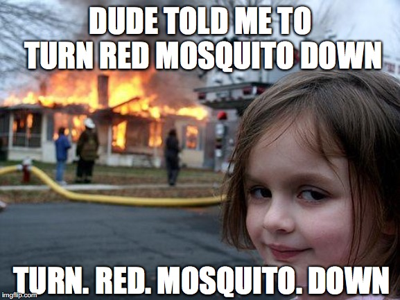 PJ doesn't get turned down | DUDE TOLD ME TO TURN RED MOSQUITO DOWN TURN. RED. MOSQUITO. DOWN | image tagged in memes,disaster girl,pearl jam,red mosquito | made w/ Imgflip meme maker