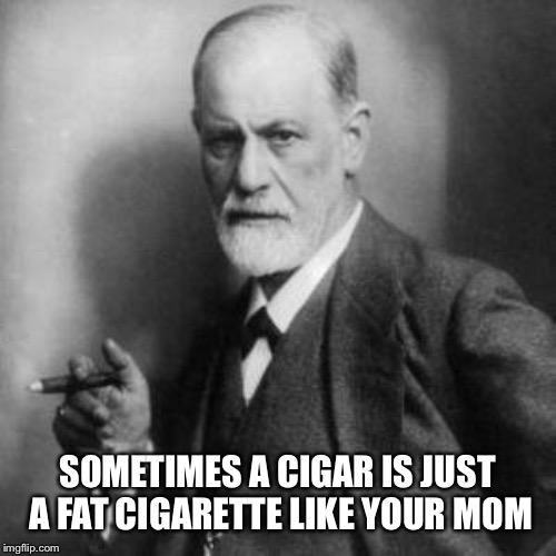Sigmund Freud | SOMETIMES A CIGAR IS JUST A FAT CIGARETTE LIKE YOUR MOM | image tagged in sigmund freud | made w/ Imgflip meme maker