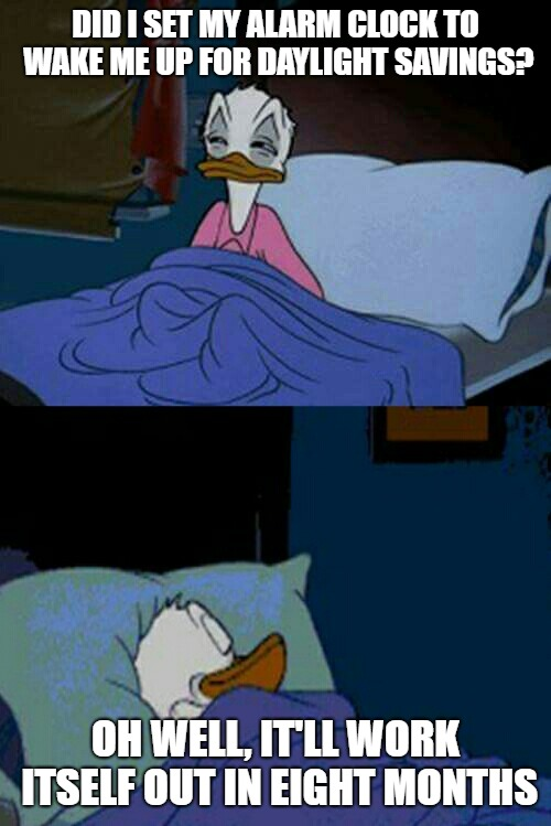 sleepy donald duck in bed | DID I SET MY ALARM CLOCK TO WAKE ME UP FOR DAYLIGHT SAVINGS? OH WELL, IT'LL WORK ITSELF OUT IN EIGHT MONTHS | image tagged in sleepy donald duck in bed | made w/ Imgflip meme maker