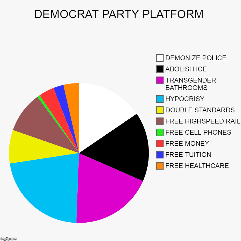 DEMOCRAT PARTY PLATFORM | FREE HEALTHCARE, FREE TUITION, FREE MONEY, FREE CELL PHONES, FREE HIGHSPEED RAIL, DOUBLE STANDARDS, HYPOCRISY, TRA | image tagged in charts,pie charts | made w/ Imgflip chart maker