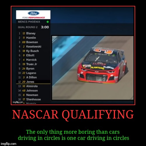 I think I'll watch golf instead | NASCAR QUALIFYING | The only thing more boring than cars driving in circles is one car driving in circles | image tagged in demotivationals,auto racing,nascar,driving in circles,boring,golf | made w/ Imgflip demotivational maker