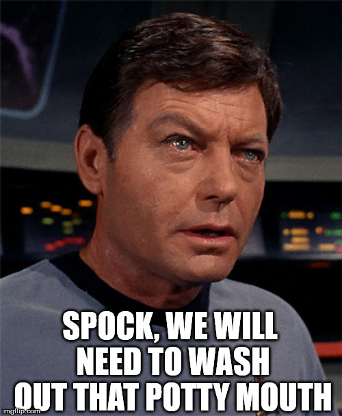 Logical swearing | SPOCK, WE WILL NEED TO WASH OUT THAT POTTY MOUTH | image tagged in bones mccoy,star trek | made w/ Imgflip meme maker