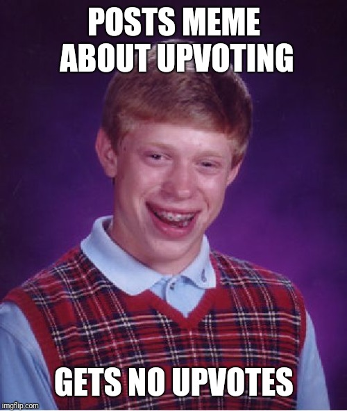 POSTS MEME ABOUT UPVOTING GETS NO UPVOTES | image tagged in memes,bad luck brian | made w/ Imgflip meme maker