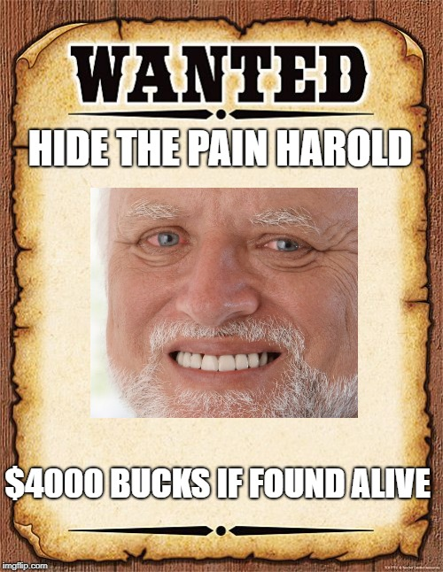 wanted poster | HIDE THE PAIN HAROLD $4000 BUCKS IF FOUND ALIVE | image tagged in wanted poster | made w/ Imgflip meme maker
