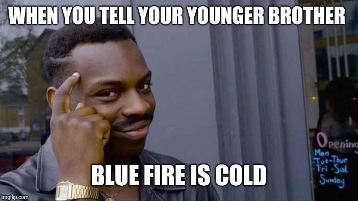 Roll Safe Think About It Meme | WHEN YOU TELL YOUR YOUNGER BROTHER BLUE FIRE IS COLD | image tagged in memes,roll safe think about it | made w/ Imgflip meme maker