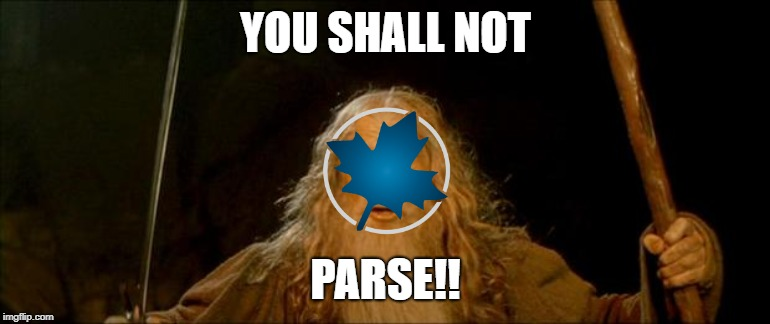 gandalf you shall not pass | YOU SHALL NOT PARSE!! | image tagged in gandalf you shall not pass | made w/ Imgflip meme maker