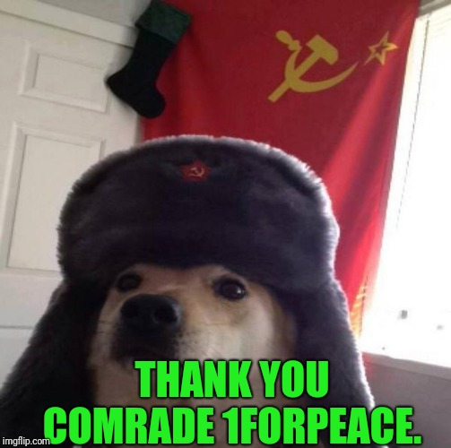 Russian Doge | THANK YOU COMRADE 1FORPEACE. | image tagged in russian doge | made w/ Imgflip meme maker