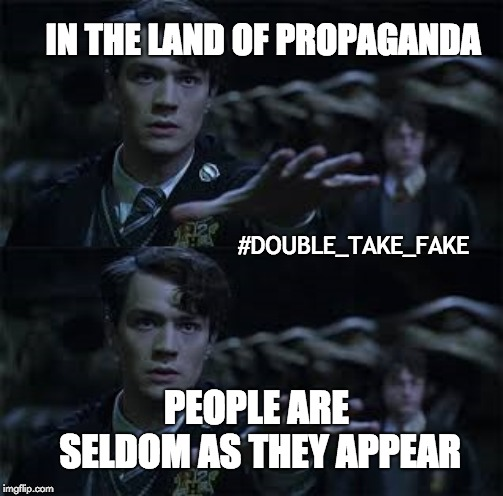 The Ultimate Fakeout | IN THE LAND OF PROPAGANDA PEOPLE ARE SELDOM AS THEY APPEAR #DOUBLE_TAKE_FAKE | image tagged in illusions,scam,scammers,frauds,up to no good,harry potter | made w/ Imgflip meme maker