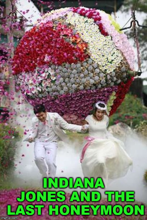 Hope they got the treasure |  INDIANA JONES AND THE LAST HONEYMOON | image tagged in meme,indiana jones,wedding,funny,spoof,cute | made w/ Imgflip meme maker