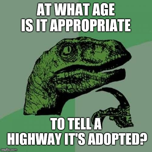 I'll bet they wonder who their parents were... | AT WHAT AGE IS IT APPROPRIATE TO TELL A HIGHWAY IT'S ADOPTED? | image tagged in memes,philosoraptor,highway,adopted,parents,yeet | made w/ Imgflip meme maker