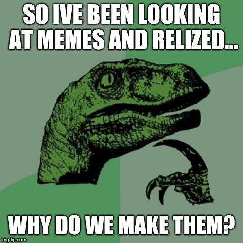 Philosoraptor Meme | SO IVE BEEN LOOKING AT MEMES AND RELIZED... WHY DO WE MAKE THEM? | image tagged in memes,philosoraptor | made w/ Imgflip meme maker