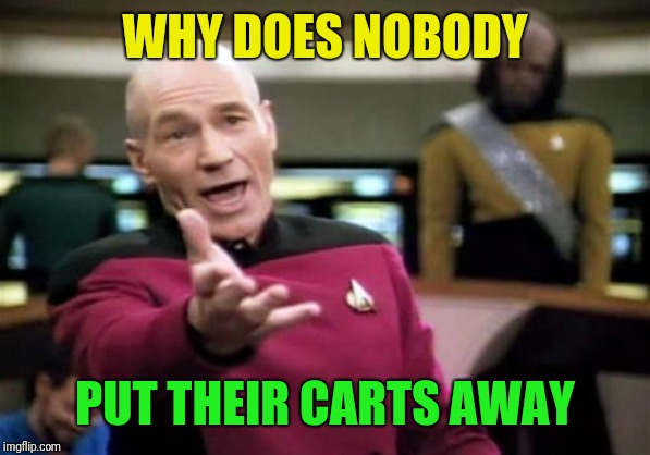 Picard Wtf Meme | WHY DOES NOBODY PUT THEIR CARTS AWAY | image tagged in memes,picard wtf | made w/ Imgflip meme maker