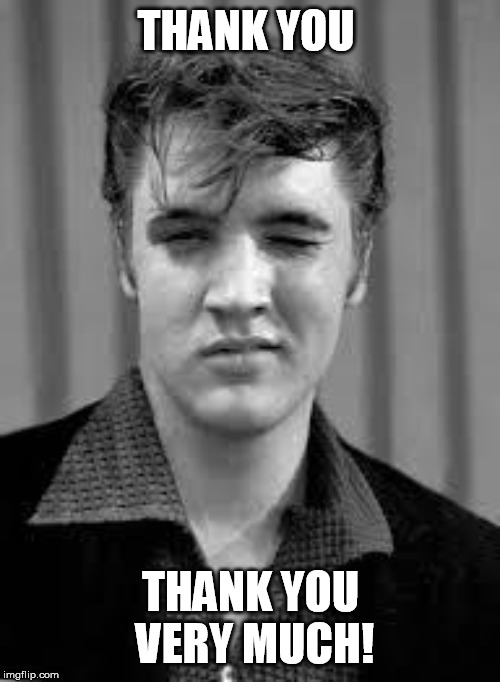 Elvis | THANK YOU THANK YOU VERY MUCH! | image tagged in elvis | made w/ Imgflip meme maker
