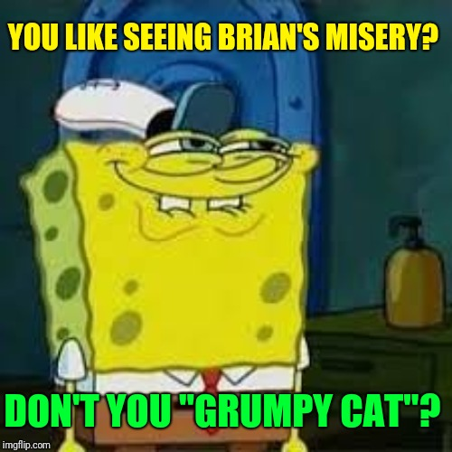 "Spongebob smirk | YOU LIKE SEEING BRIAN'S MISERY? DON'T YOU ""GRUMPY CAT""? 