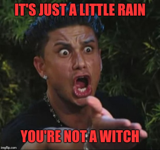 DJ Pauly D Meme | IT'S JUST A LITTLE RAIN YOU'RE NOT A WITCH | image tagged in memes,dj pauly d | made w/ Imgflip meme maker