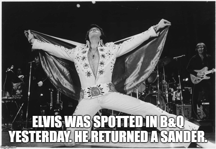 Elvis  | ELVIS WAS SPOTTED IN B&Q YESTERDAY. HE RETURNED A SANDER. | image tagged in elvis | made w/ Imgflip meme maker