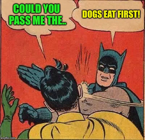 Batman Slapping Robin Meme | COULD YOU PASS ME THE.. DOGS EAT FIRST! | image tagged in memes,batman slapping robin | made w/ Imgflip meme maker