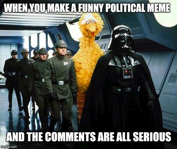 vader big bird | WHEN YOU MAKE A FUNNY POLITICAL MEME AND THE COMMENTS ARE ALL SERIOUS | image tagged in vader big bird | made w/ Imgflip meme maker
