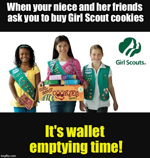 Get your wallet out! | When your niece and her friends ask you to buy Girl Scout cookies It's wallet emptying time! | image tagged in girl scout | made w/ Imgflip meme maker