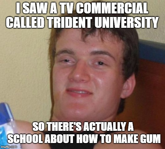 10 Guy | I SAW A TV COMMERCIAL CALLED TRIDENT UNIVERSITY SO THERE'S ACTUALLY A SCHOOL ABOUT HOW TO MAKE GUM | image tagged in memes,10 guy,chewing,gum | made w/ Imgflip meme maker