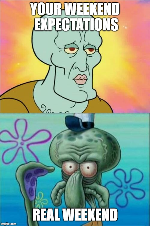 Squidward Meme | YOUR WEEKEND EXPECTATIONS REAL WEEKEND | image tagged in memes,squidward | made w/ Imgflip meme maker