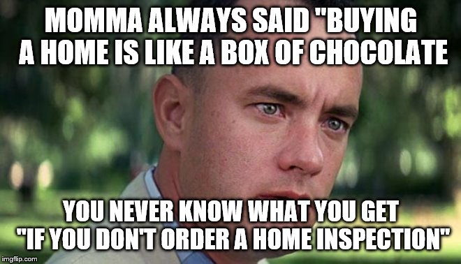 "Forest Gump | MOMMA ALWAYS SAID ""BUYING A HOME IS LIKE A BOX OF CHOCOLATE YOU NEVER KNOW WHAT YOU GET ""IF YOU DON'T ORDER A HOME INSPECTION"" 