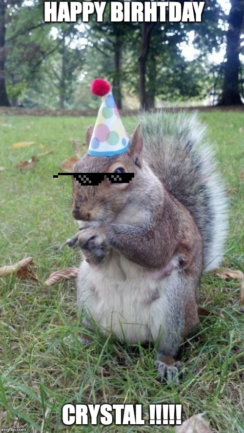 Super Birthday Squirrel |  HAPPY BIRHTDAY; CRYSTAL !!!!! | image tagged in memes,super birthday squirrel | made w/ Imgflip meme maker