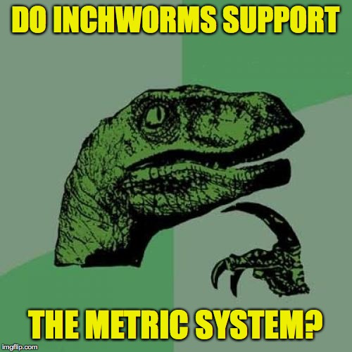 Philosoraptor Meme | DO INCHWORMS SUPPORT THE METRIC SYSTEM? | image tagged in memes,philosoraptor,metric system | made w/ Imgflip meme maker