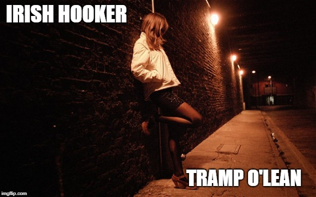 Irish Hooker | IRISH HOOKER TRAMP O'LEAN | image tagged in prostitute,prostitution,hooker,irish,ireland,sex | made w/ Imgflip meme maker