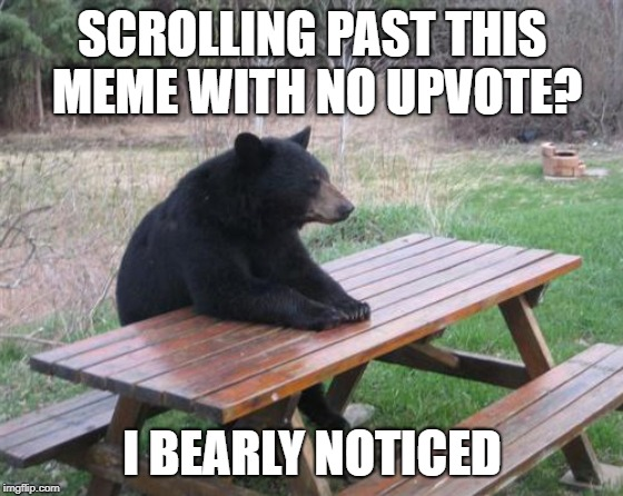Bad Luck Bear Meme | SCROLLING PAST THIS MEME WITH NO UPVOTE? I BEARLY NOTICED | image tagged in memes,bad luck bear | made w/ Imgflip meme maker