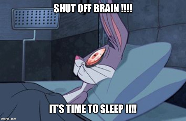 Bugs Bunny insomnia | SHUT OFF BRAIN !!!! IT'S TIME TO SLEEP !!!! | image tagged in bugs bunny insomnia,cant sleep,tired,restless,wide awake,anxiety | made w/ Imgflip meme maker