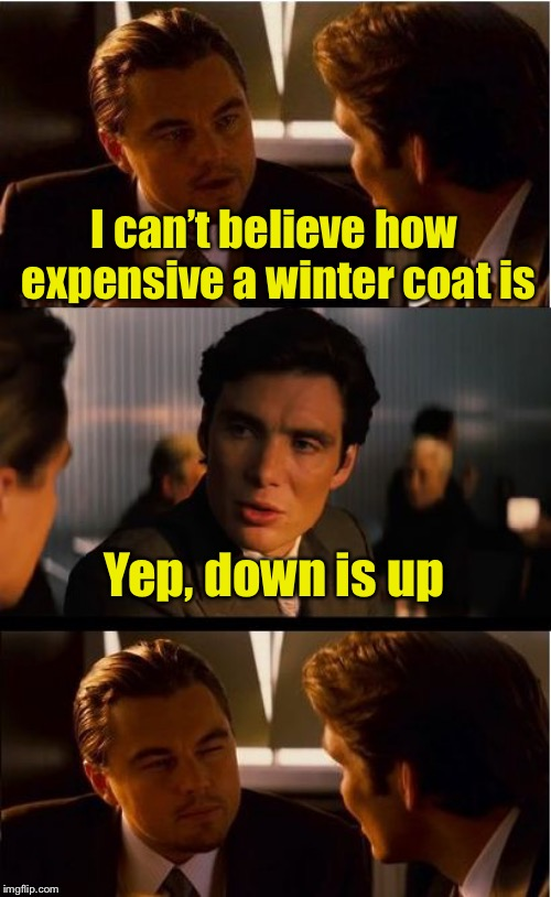 Inception Meme | I can't believe how expensive a winter coat is Yep, down is up | image tagged in memes,inception | made w/ Imgflip meme maker