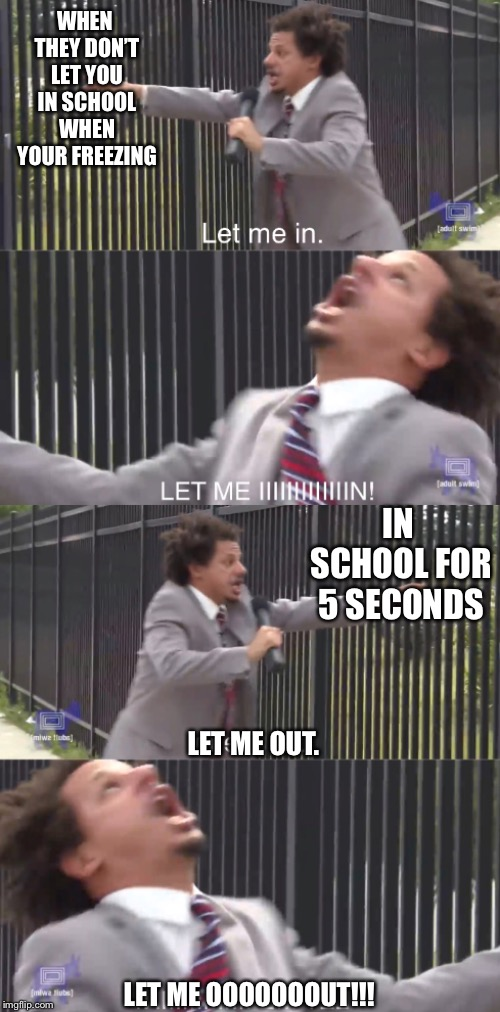Literally every student in winter |  WHEN THEY DON'T LET YOU IN SCHOOL WHEN YOUR FREEZING; IN SCHOOL FOR 5 SECONDS; LET ME OUT. LET ME OOOOOOOUT!!! | image tagged in let me out,school,let me in | made w/ Imgflip meme maker