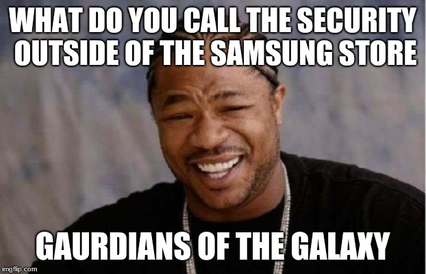 Yo Dawg Heard You | WHAT DO YOU CALL THE SECURITY OUTSIDE OF THE SAMSUNG STORE GAURDIANS OF THE GALAXY | image tagged in memes,yo dawg heard you | made w/ Imgflip meme maker