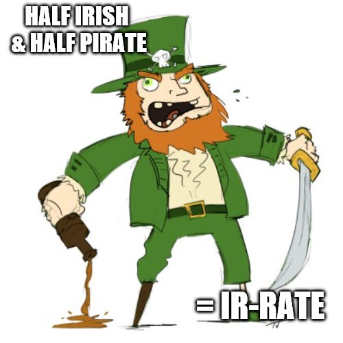 leprechaun-pirate | HALF IRISH & HALF PIRATE = IR-RATE | image tagged in leprechaun-pirate | made w/ Imgflip meme maker