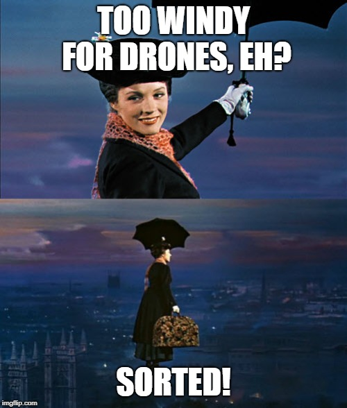 Mary Poppins Leaving | TOO WINDY FOR DRONES, EH? SORTED! | image tagged in mary poppins leaving | made w/ Imgflip meme maker